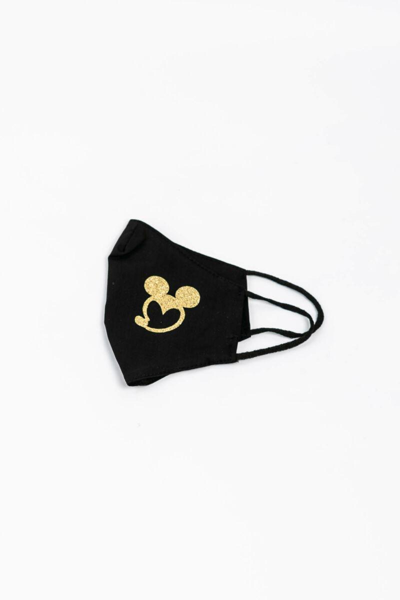 Fekete Színű Arany Színű Csillogós Mickey Egeres 2 Rétegű Trendi Textil Szájmaszk