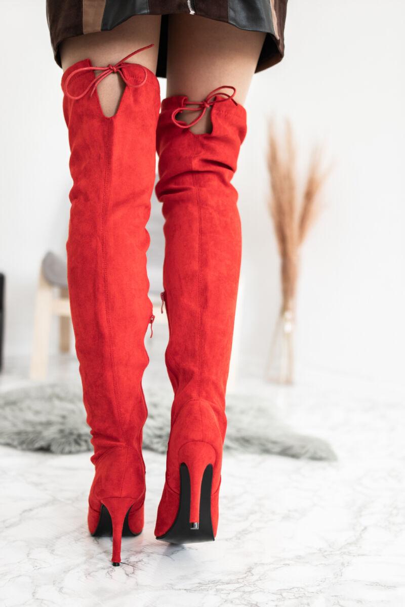 Piros Művelúr Női Magassarkú Csizma
