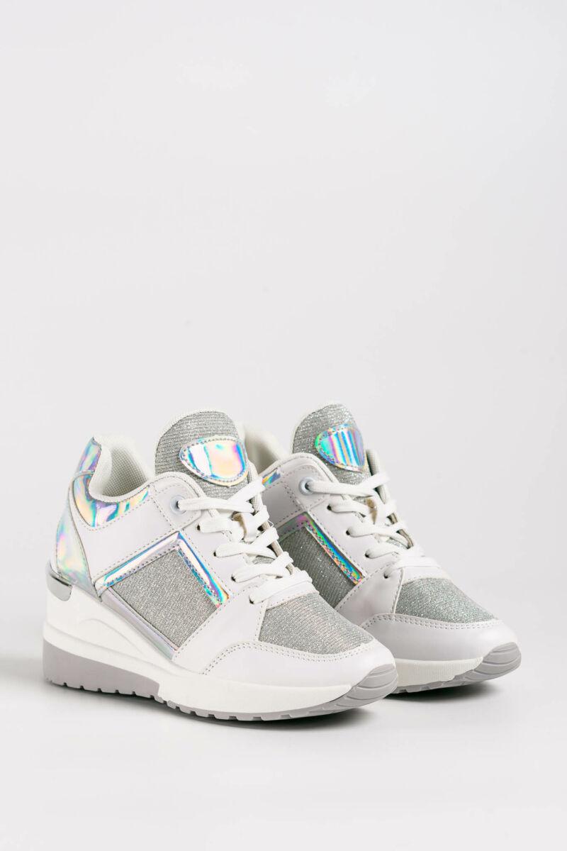 Fehér Műbőr/PVC Női Sneaker Rejtett Sarokkal
