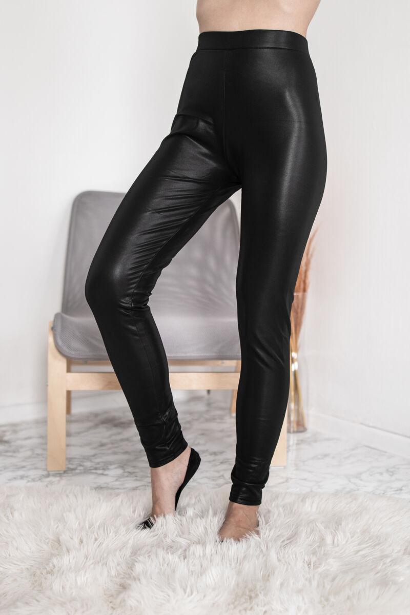 Fekete színű fényes női leggings
