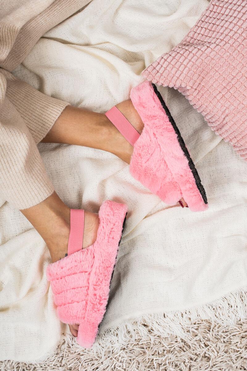 Rózsaszín Műszőrmés Papucs Pánttal