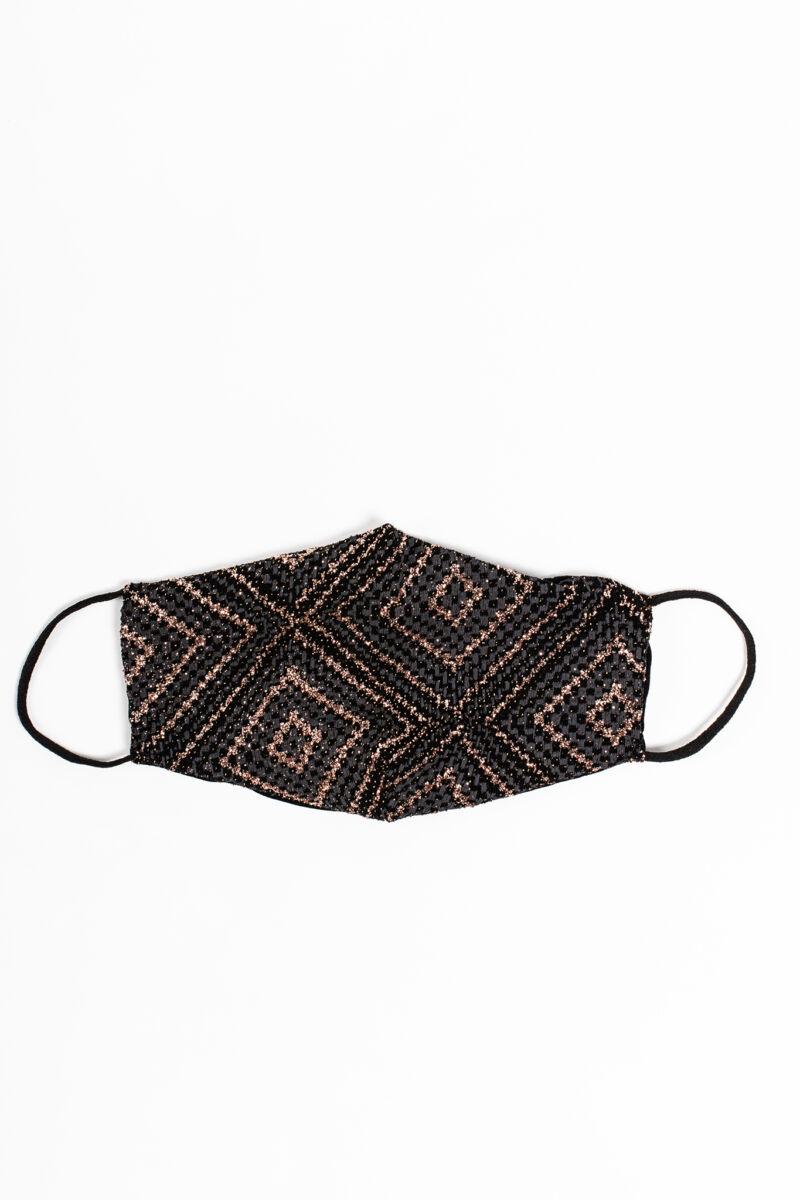 Csillogó Arany Színű Mintás 2 Rétegű Trendi Textil Szájmaszk