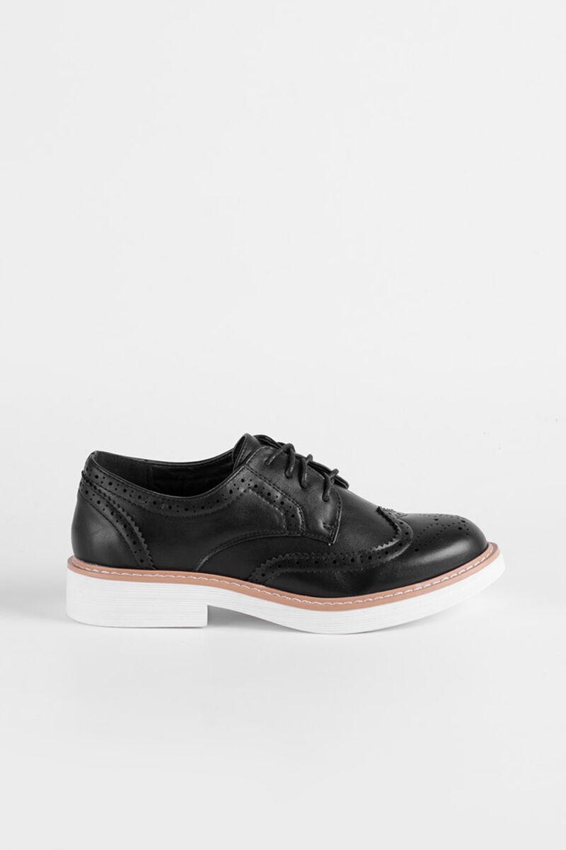 Oxford Stílusú Fekete Műbőr Utcai Cipő