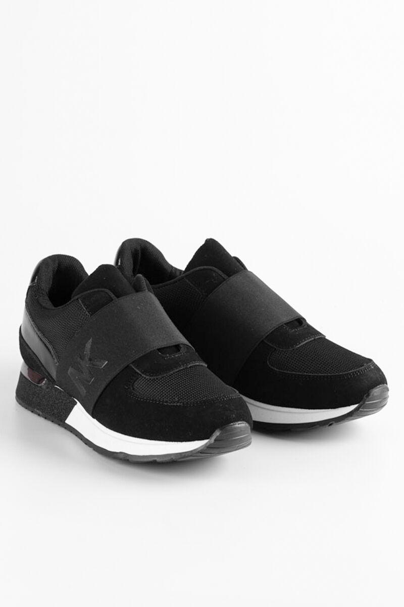 Egyszerű Fekete Színű Műbőr Magastalpú Utcai Női Cipő