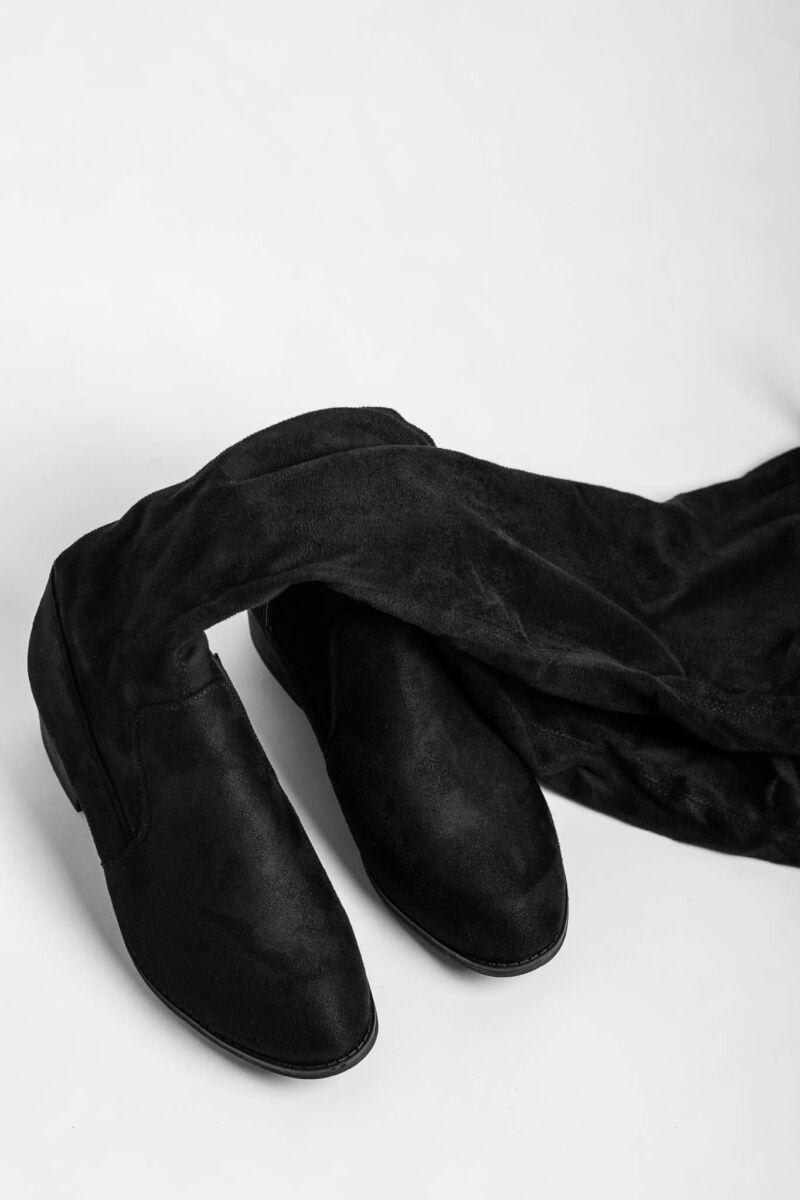 Fekete Művelúr Magasszárú Csizma