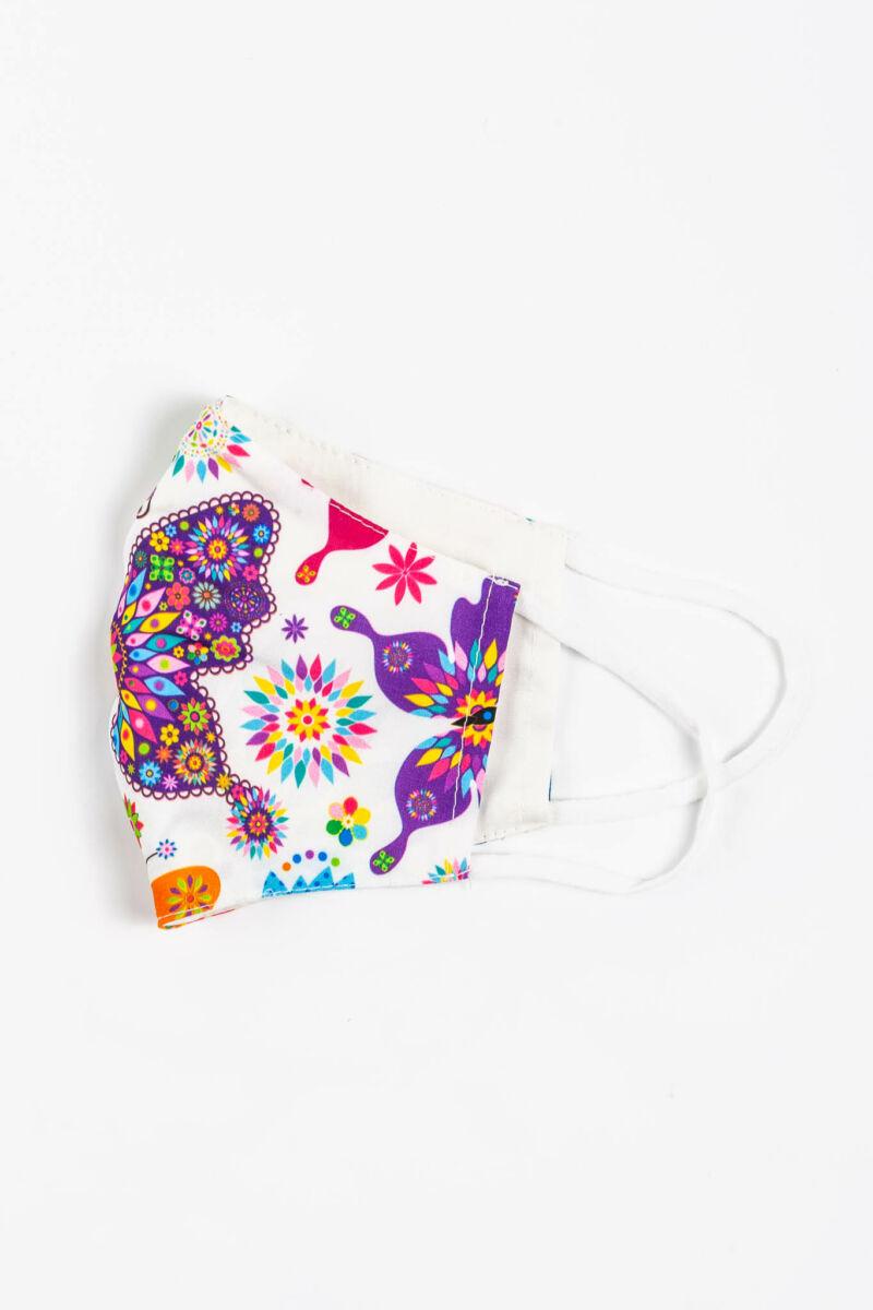 Fehér Virágmintás 2 Rétegű Trendi Textil Szájmaszk