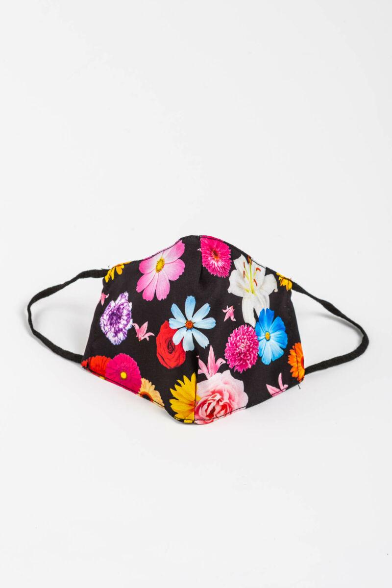 Fekete Virágmintás 2 Rétegű Trendi Textil Szájmaszk