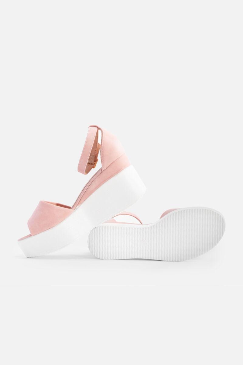 Rózsaszín platformos műbőr női szandál