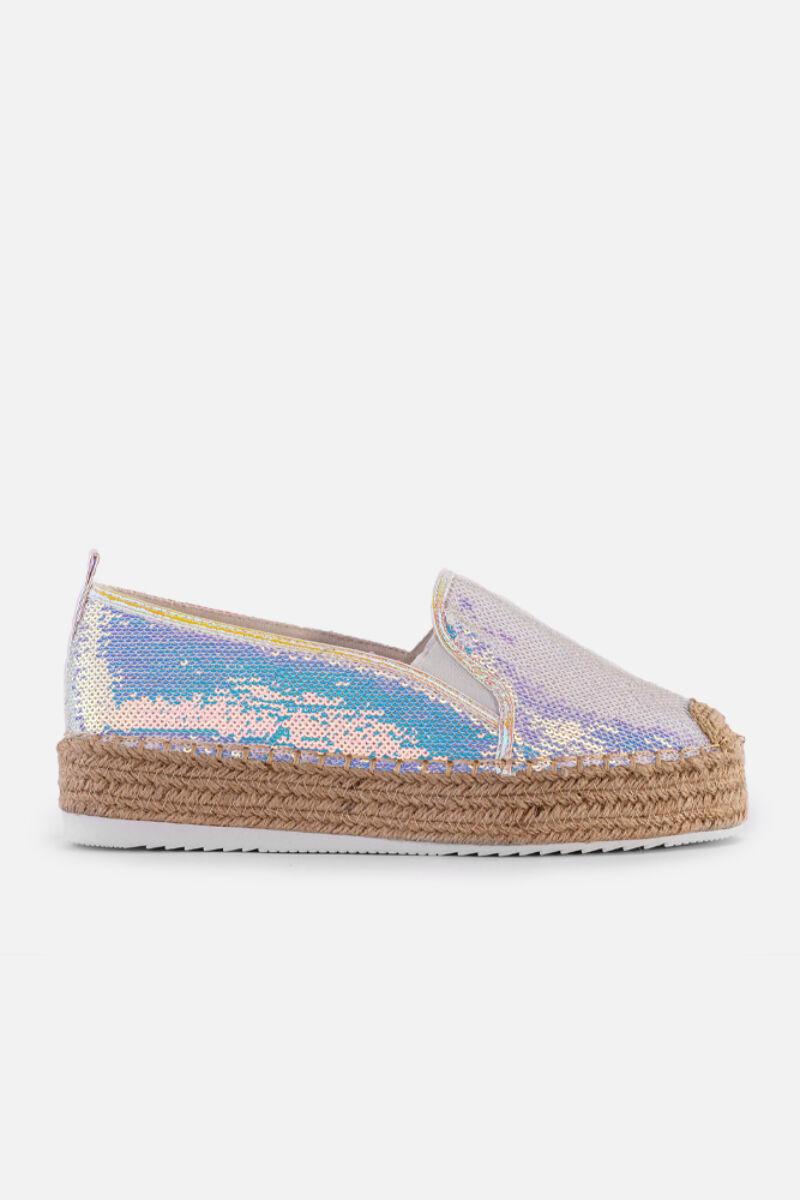 Ezüst hologramos nyárias utcai cipő