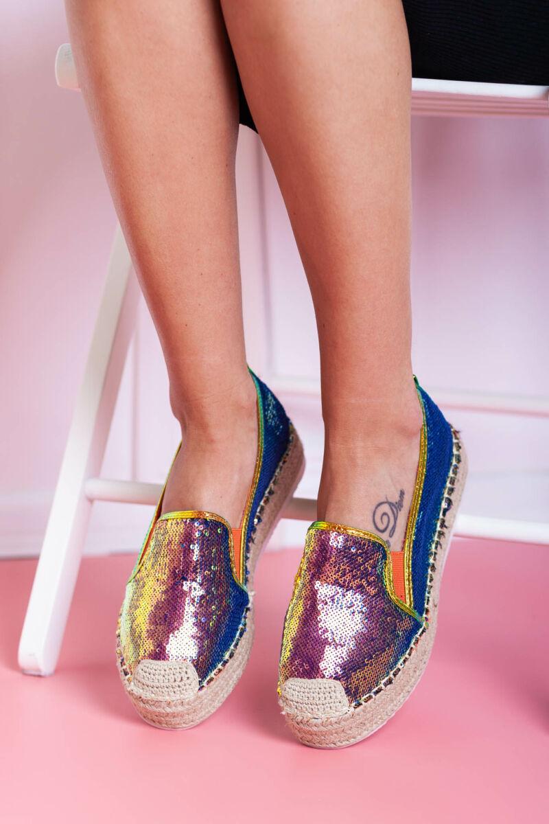 Narancssárga hologramos nyárias utcai cipő