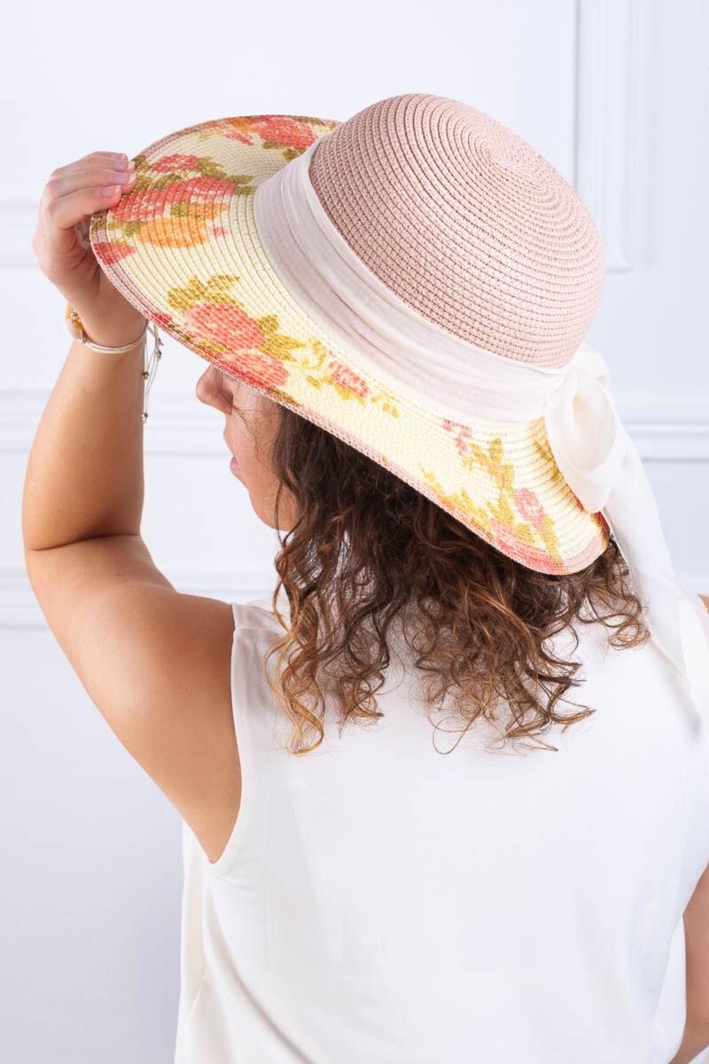 Rózsaszín Női Kalap Virágmintával