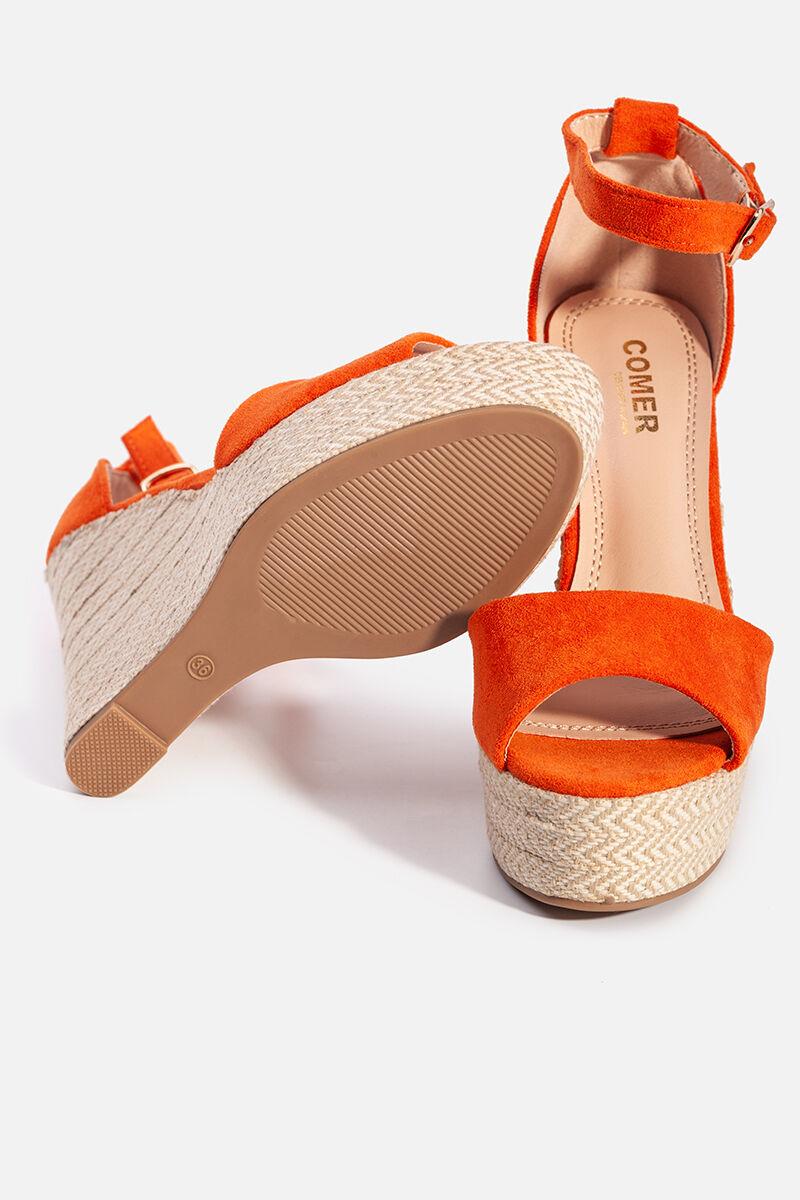 Narancssárga női művelúr telitalpú szandál
