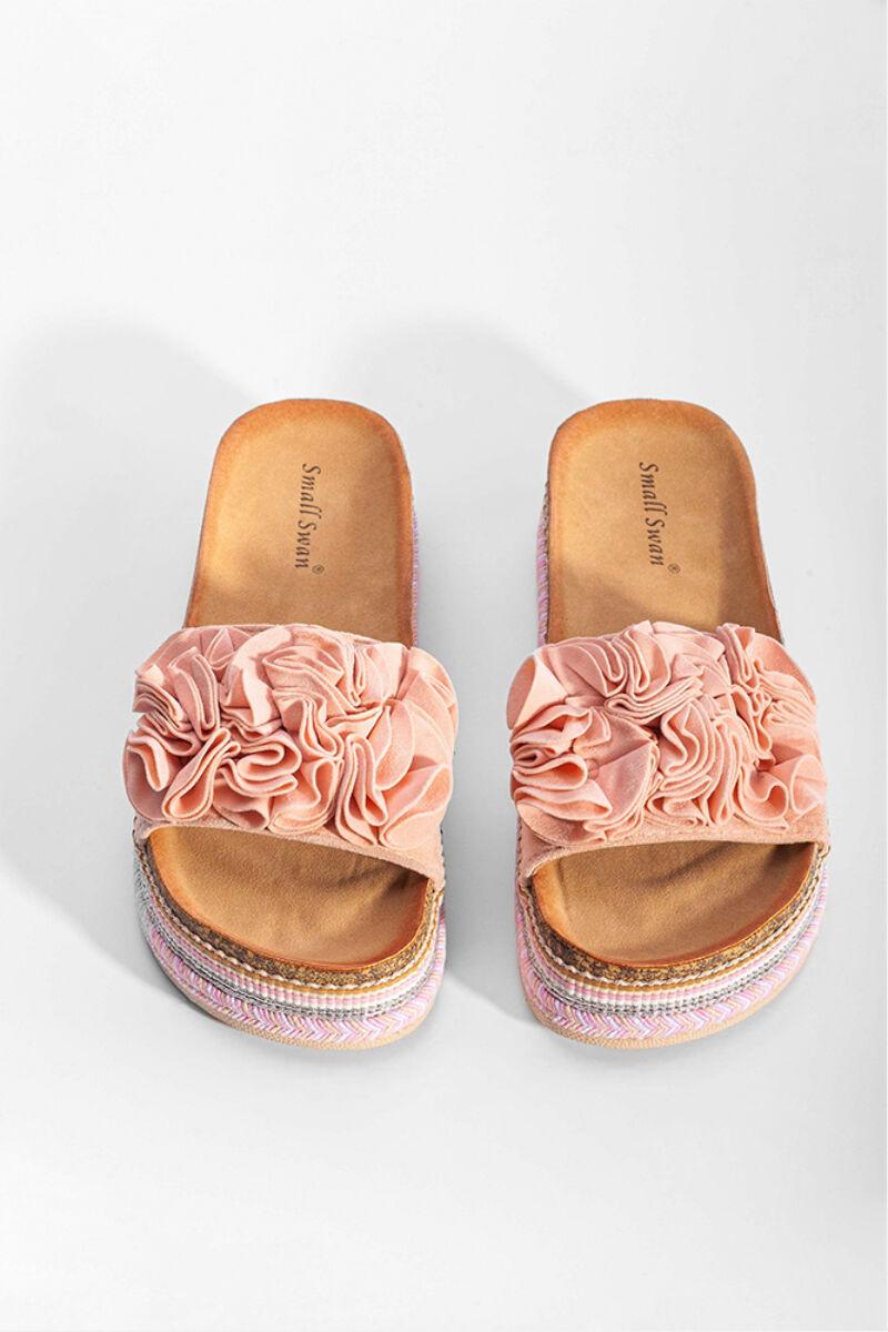 Rózsaszín Fodros Művelúr Női Papucs