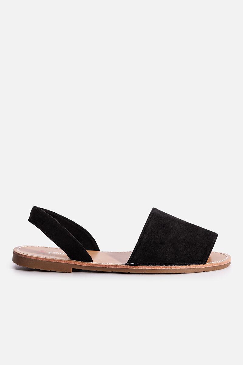 Fekete lapostalpú kényelmes belebújós nyári szandál