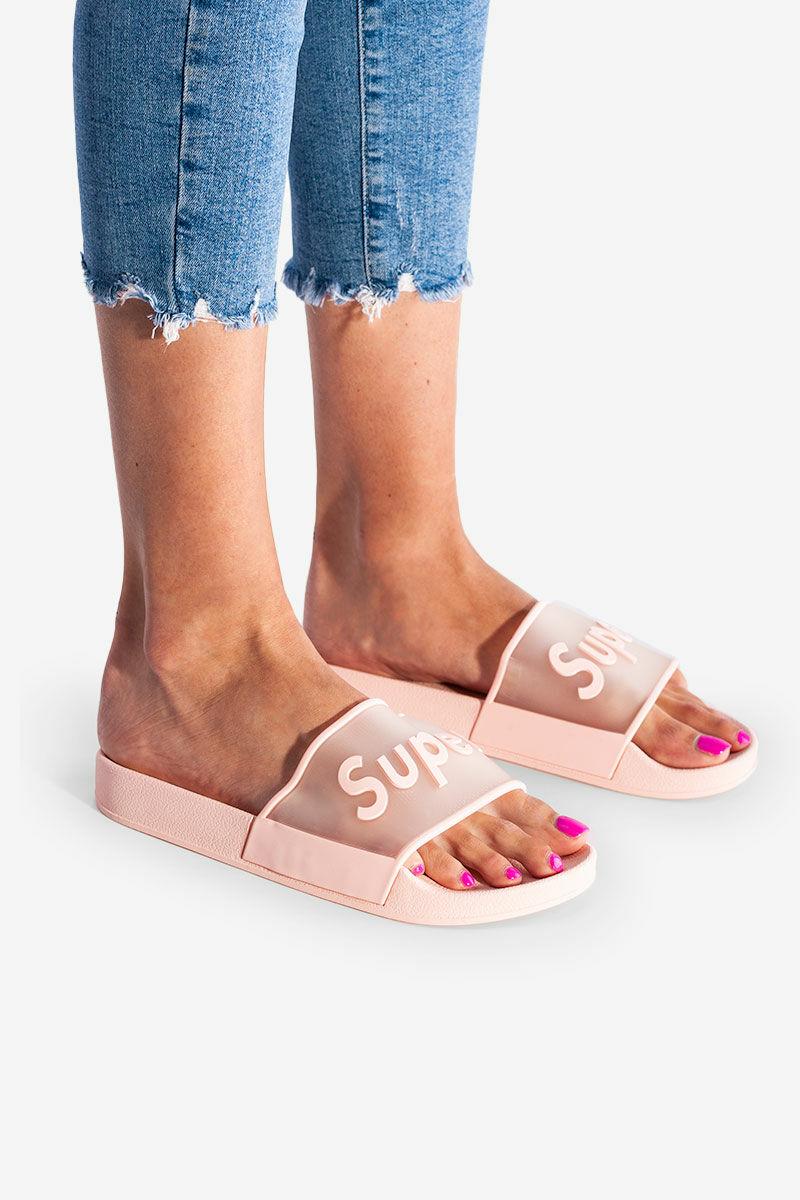 Rózsaszín Kényelmes Női Gumi Papucs Feliratos Átlátszó Pánttal