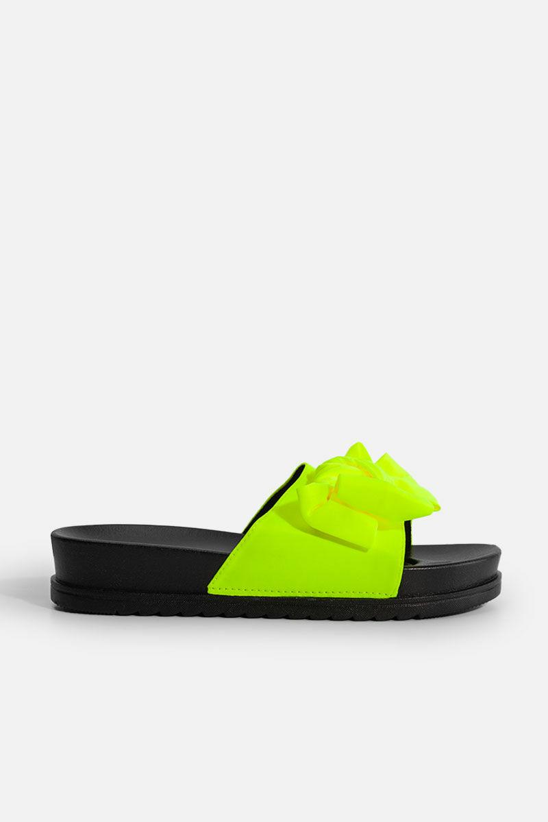 Női Neon Sárga Szintetikus Masnis Papucs