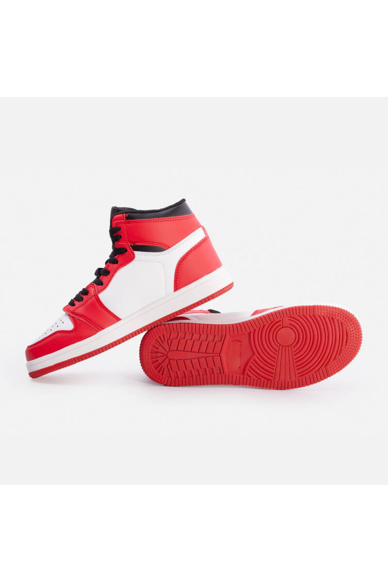 Magasszárú utcai cipő (fehér-piros)
