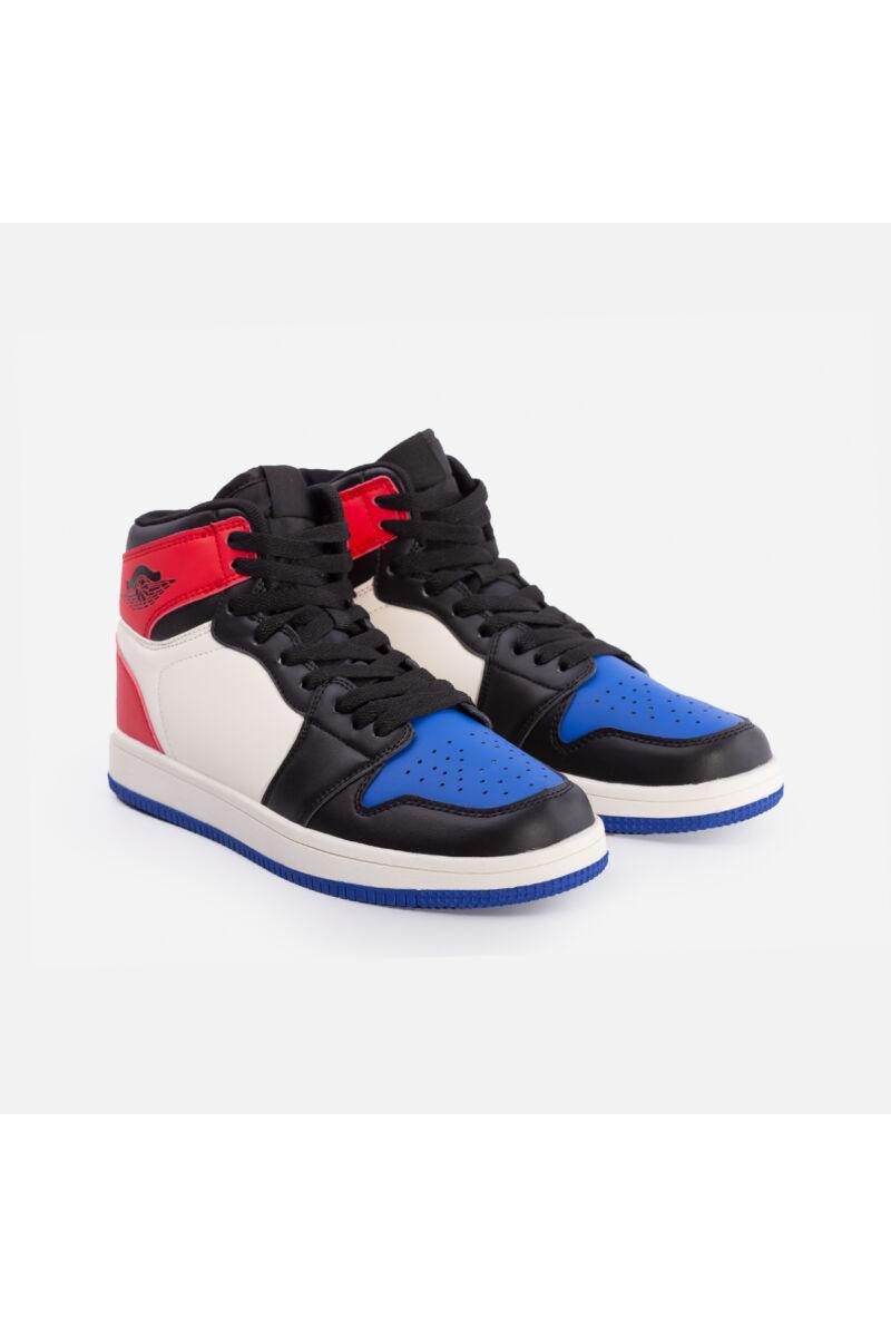 Magas szárú utcai cipő (kék-piros)