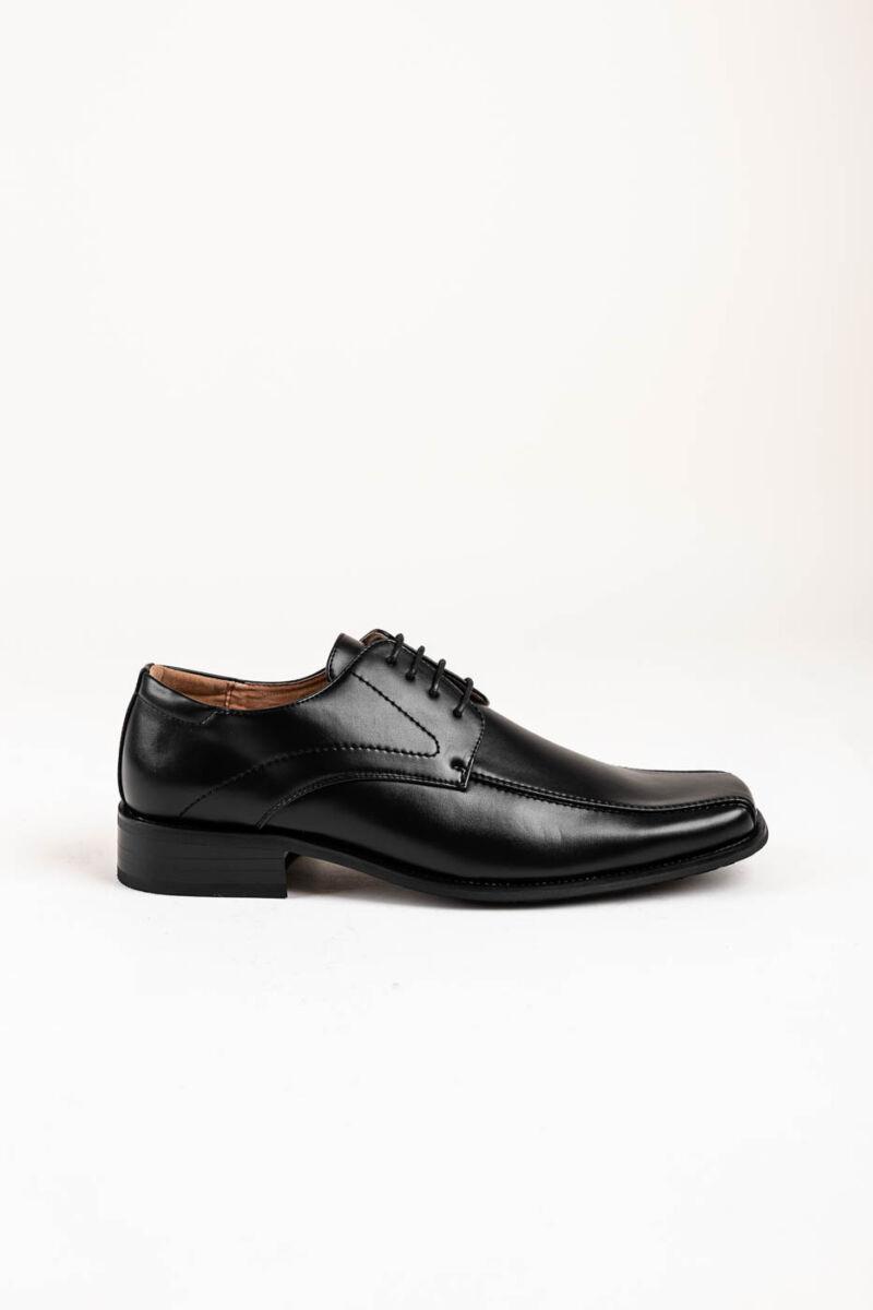 Fekete Férfi Fűzős Műbőr Utcai-Alkalmi Cipő Szögletes Orral