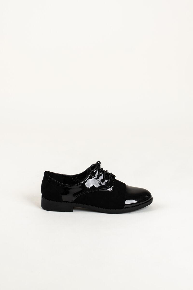 Oxford Stílusú Fekete Lakk Orrú Művelúr Utcai Cipő