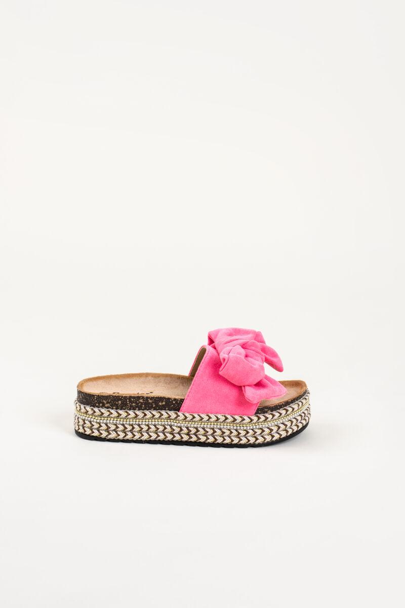 Neon Rózsaszín Platformos, Masnis Pántú Művelúr Papucs