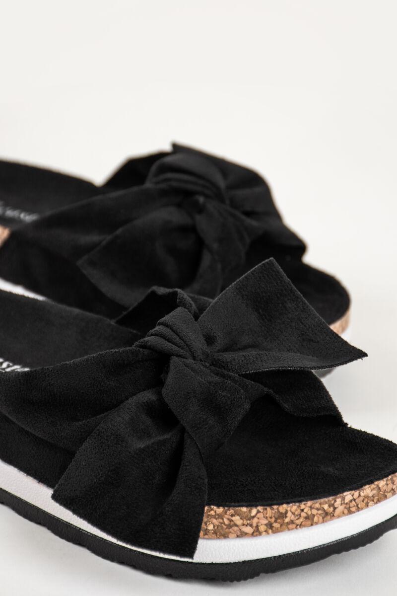 Fekete Platformos Masnis Pántú Művelúr Papucs