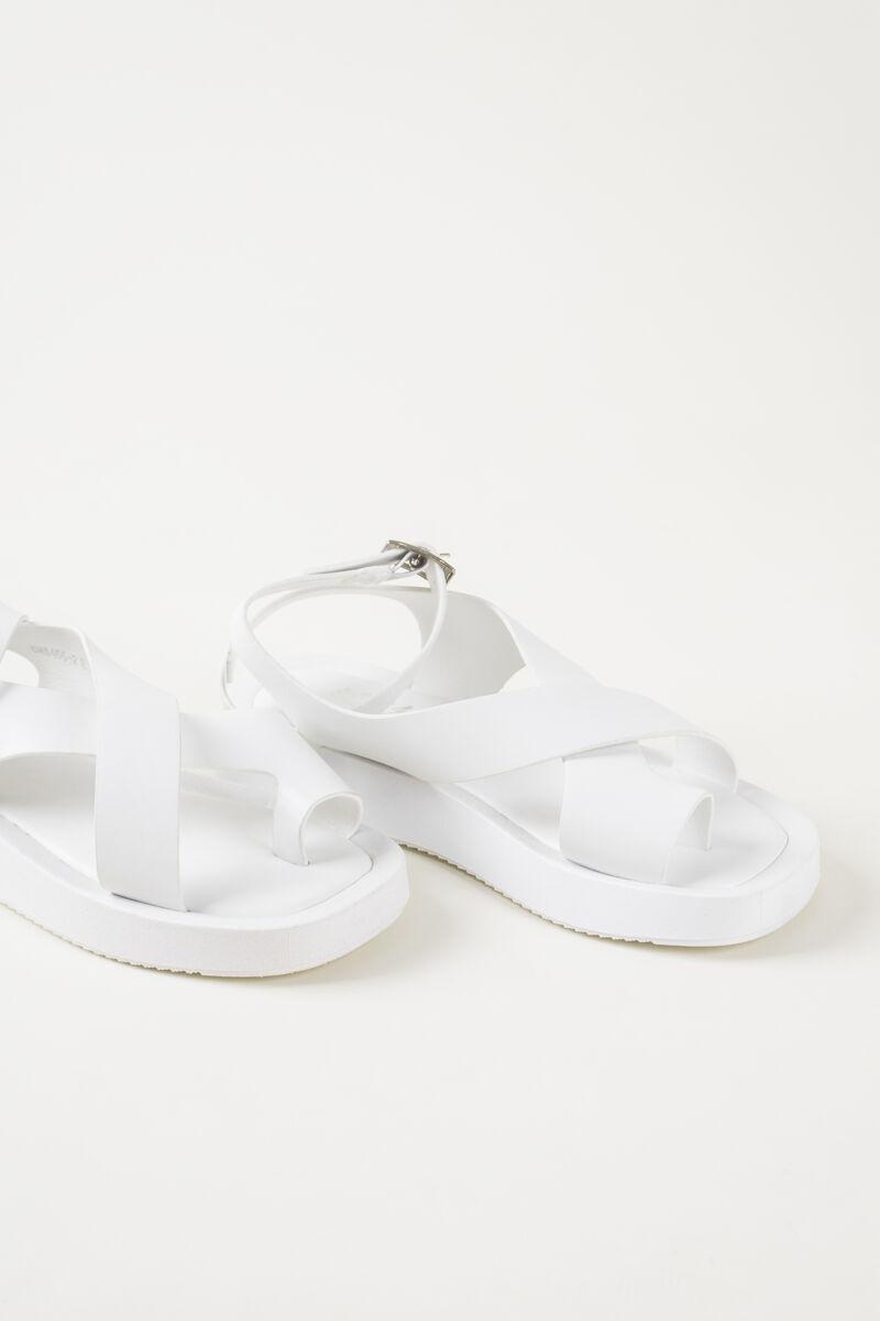 Fehér Különleges Pántú Női Műbőr Szandál