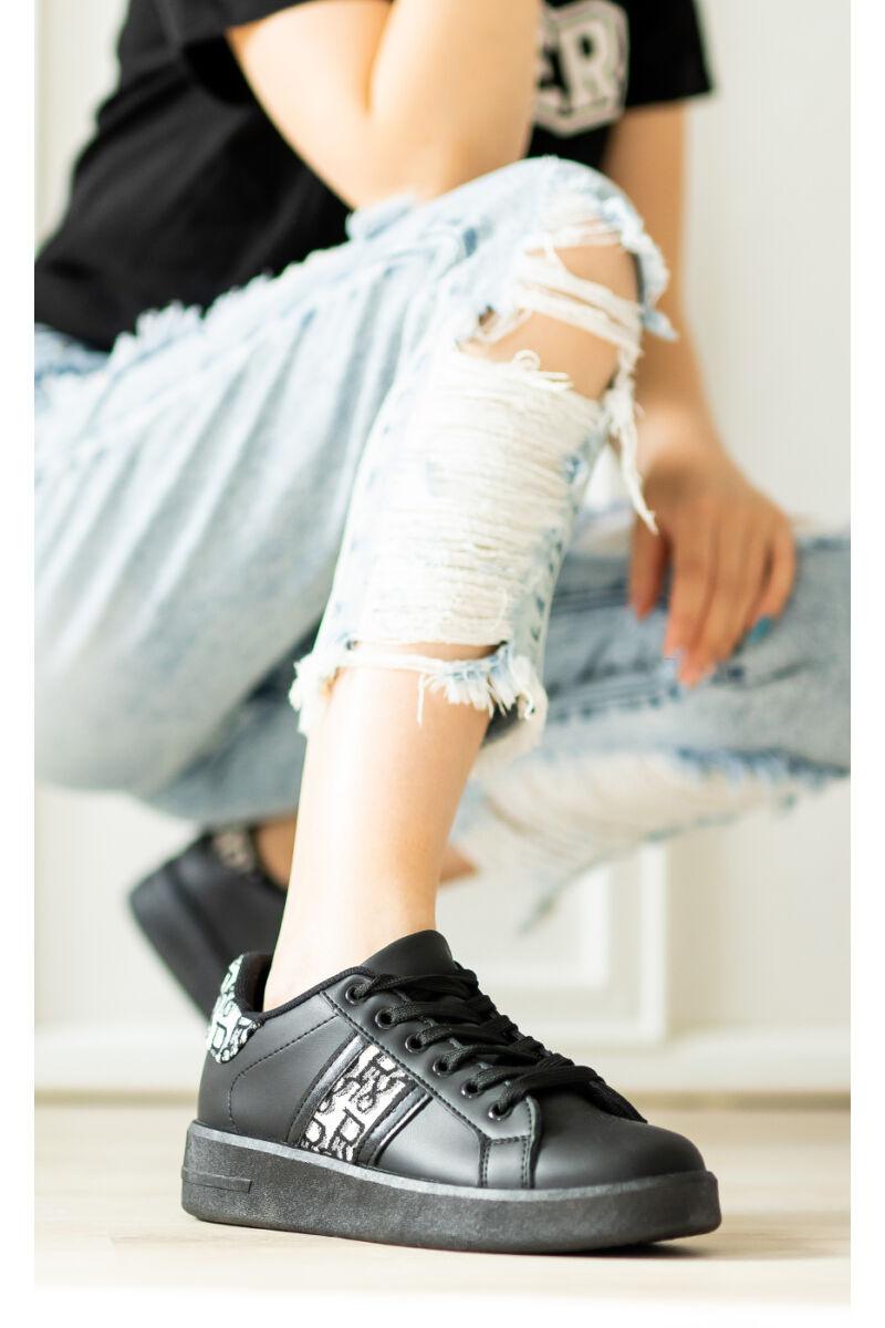 Fekete Magas Talpú Női Fűzős Műbőr Sneaker