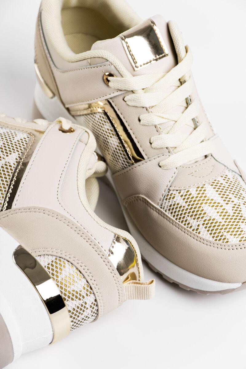 Bézs Rejtett Magassarkú Női Sneaker Sarok Dísszel