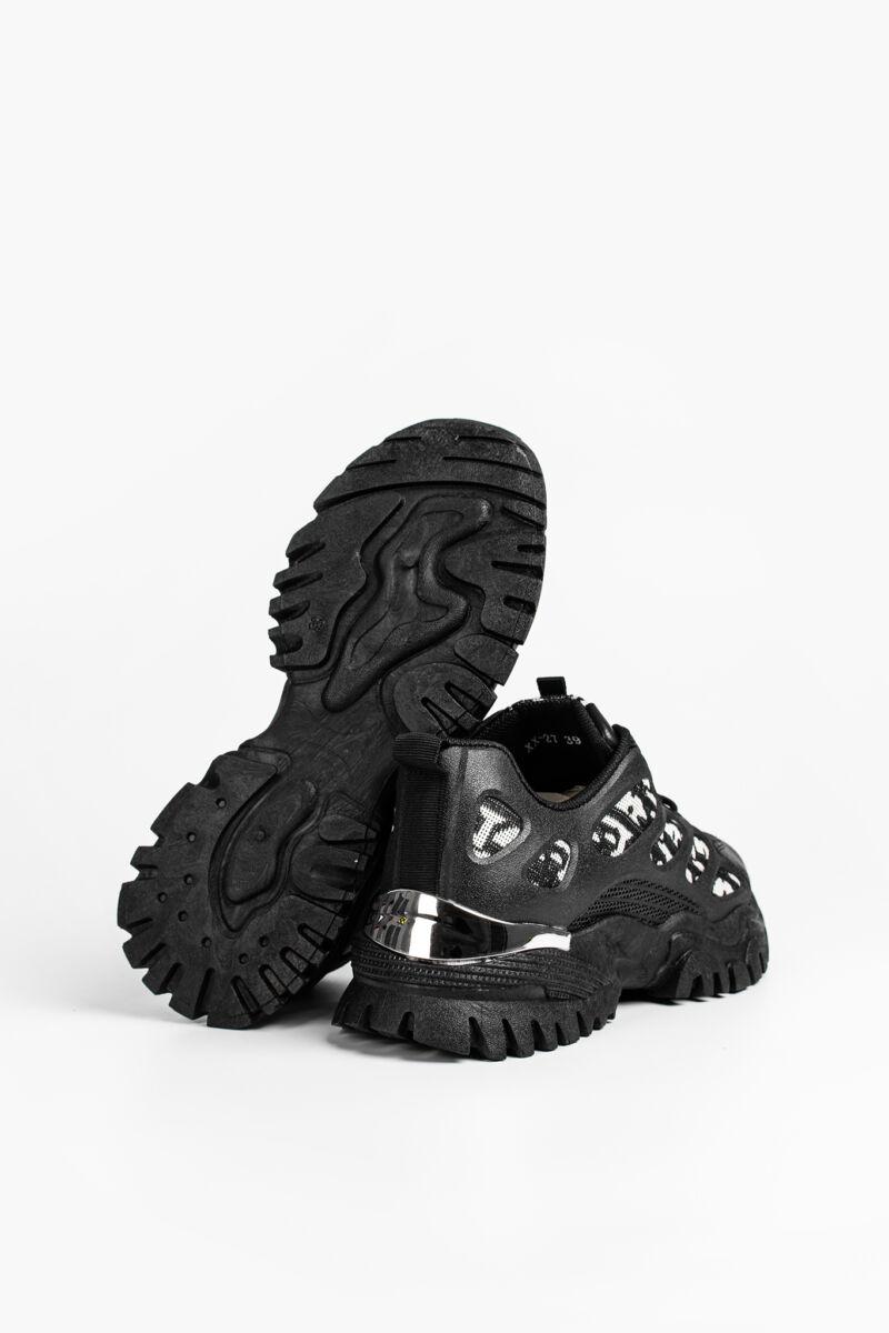 Fekete Mintás Magas Talpú Női Sneaker Sarok Dísszel