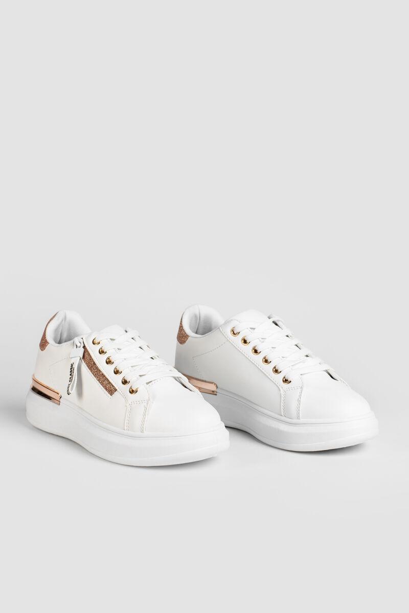 Fehér/Rózsaarany Magas Talpú Női Sneaker Dísz Cipzárral