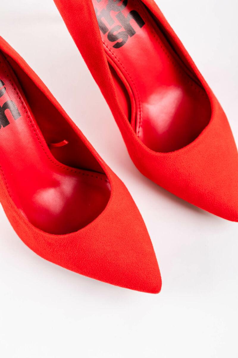 Piros Női Művelúr Magassarkú