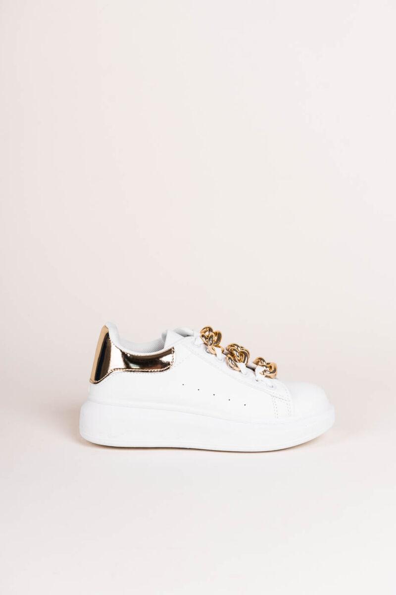 Fehér-Arany Vastagtalpú Lánccal Díszített Női  Műbőr   Sneaker