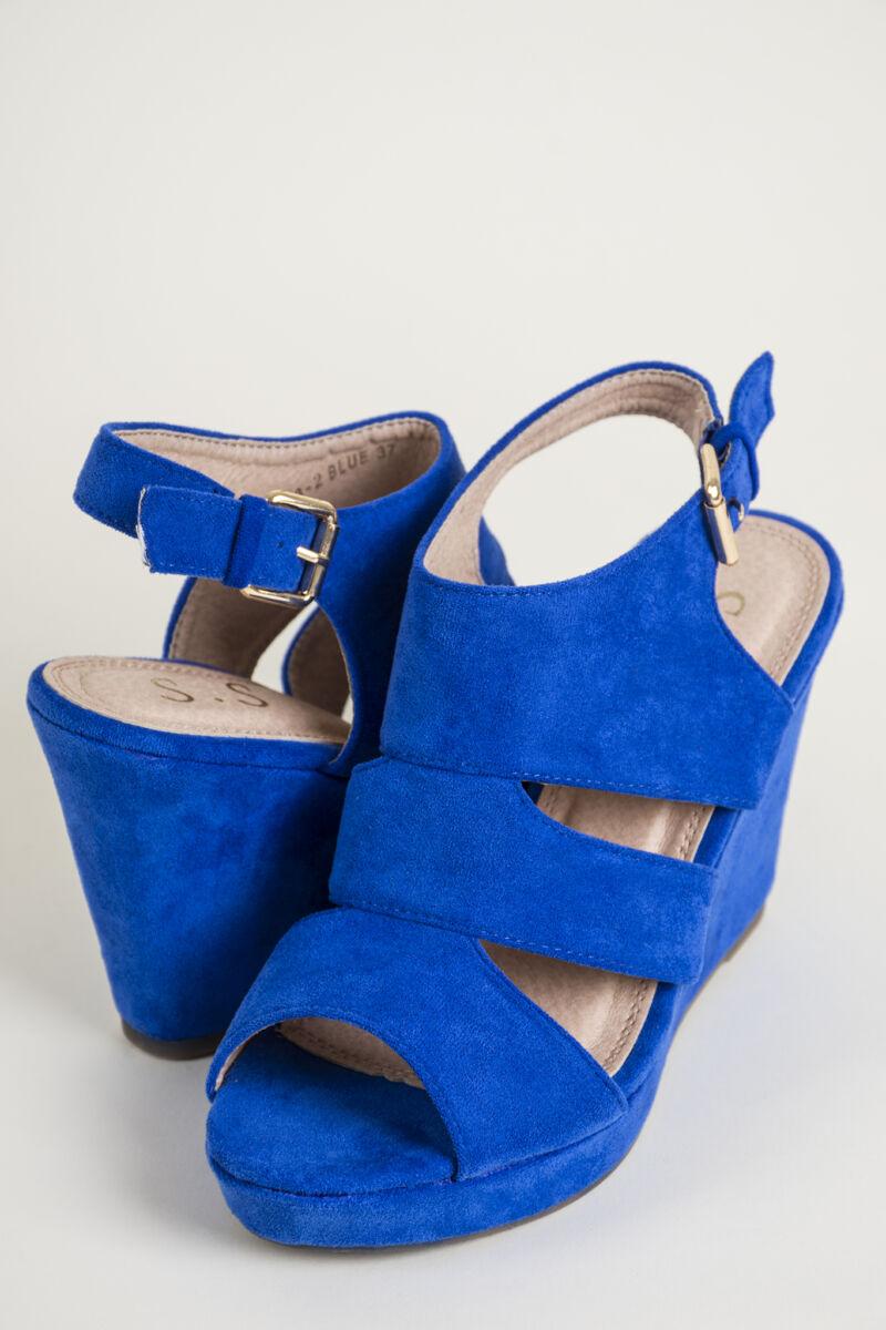Kék Platform Magassarkú Művelúr Női Szandál