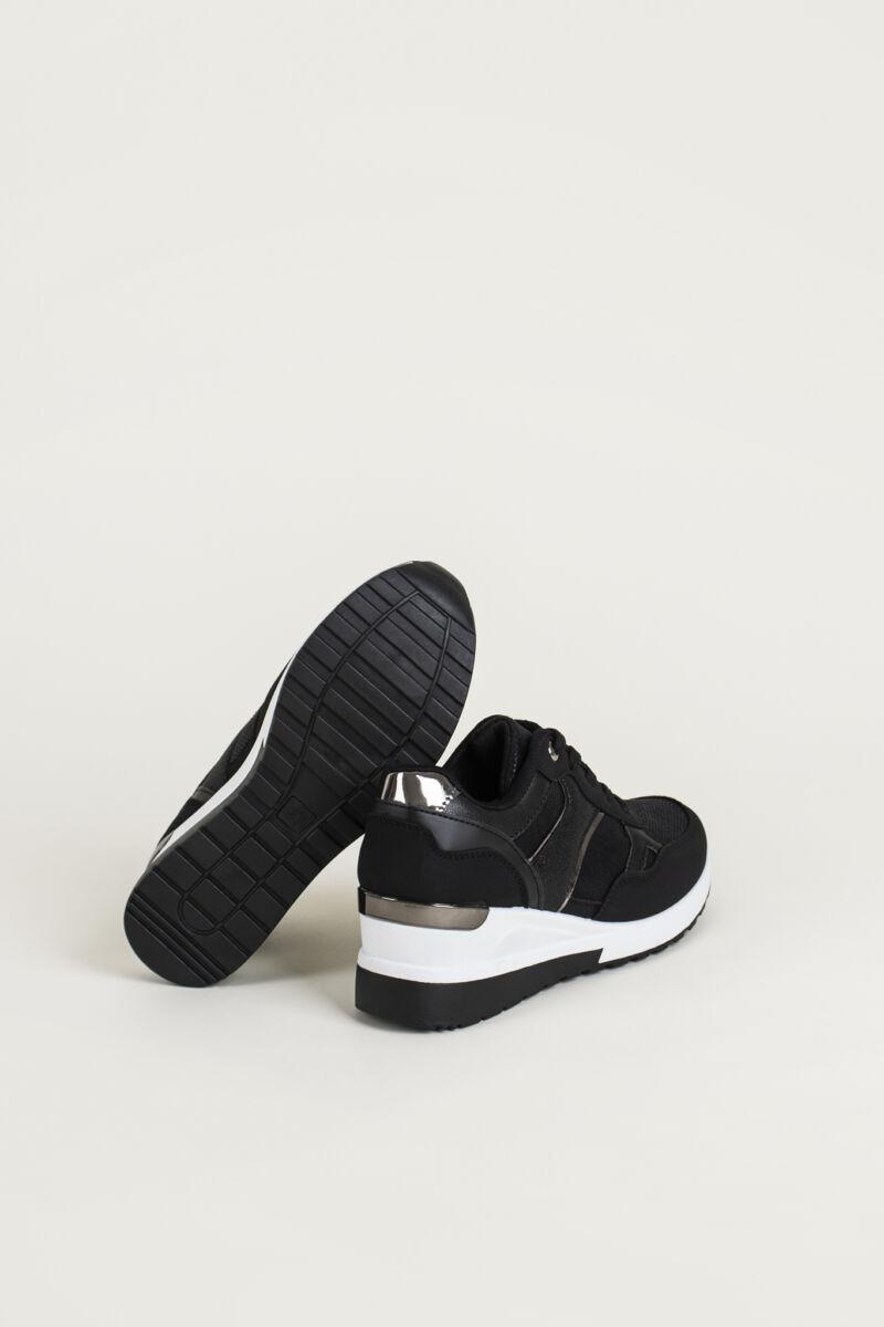 Fekete Női Rejtett Magassarkú Jól Szellőző Sneaker