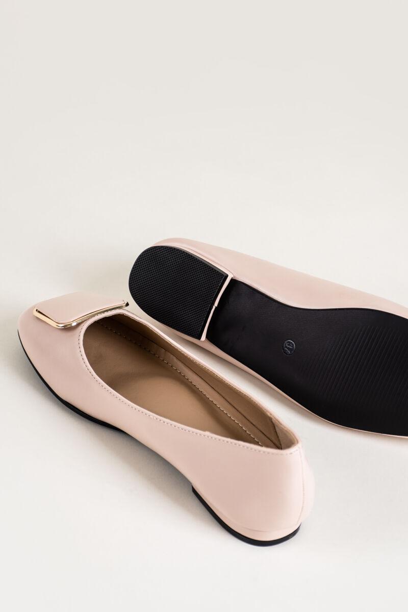 Világos Rózsaszín Műbőr Balerina Cipő Csatt Dísszel
