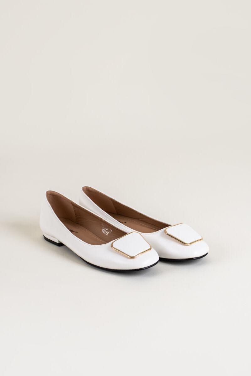 Fehér Műbőr Balerina Cipő Csatt Dísszel