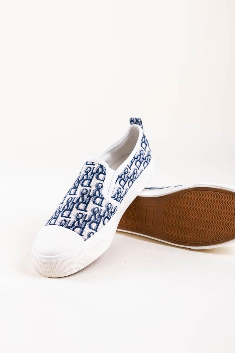 Fehér-Kék Mintás Belebújós Slip-On Félcipő