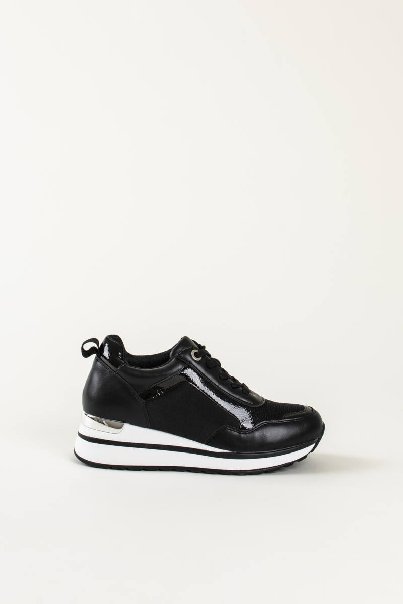 Fekete Női Rejtett Magassarkú Sneaker