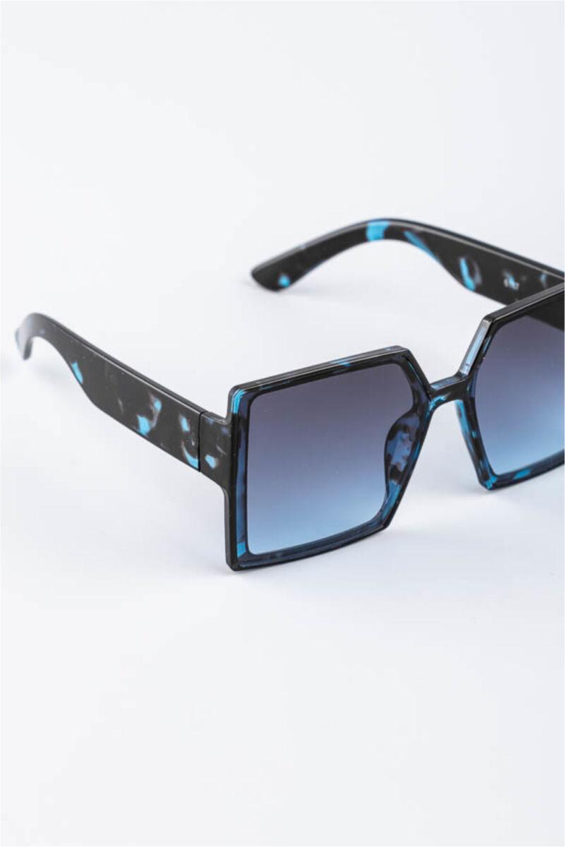 A & ONE Kék Nagy Méretű Szögletes Mintás Műanyag Keretes Napszemüveg