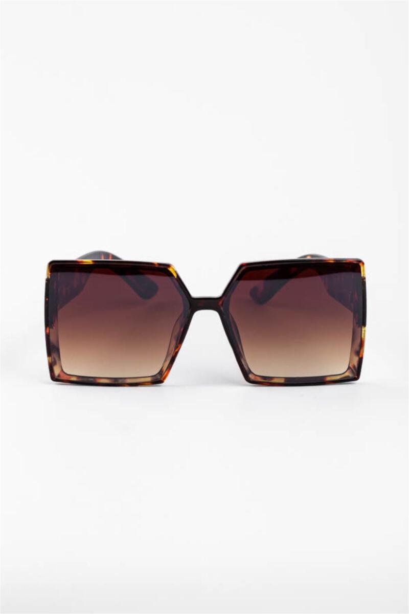 A & ONE Barna Mintás Nagy Méretű Szögletes Műanyag Keretes Napszemüveg