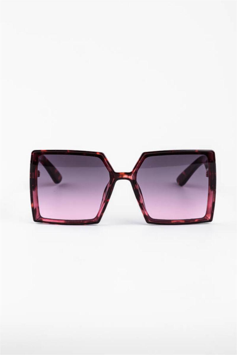 A & ONE Lila Nagy Méretű Szögletes Mintás Műanyag Keretes Napszemüveg