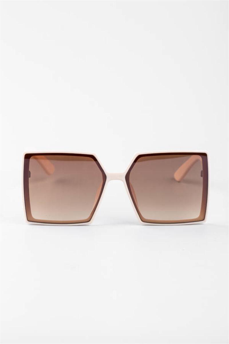 A & ONE Világosbarna Nagy Méretű Szögletes Mintás Műanyag Keretes Napszemüveg