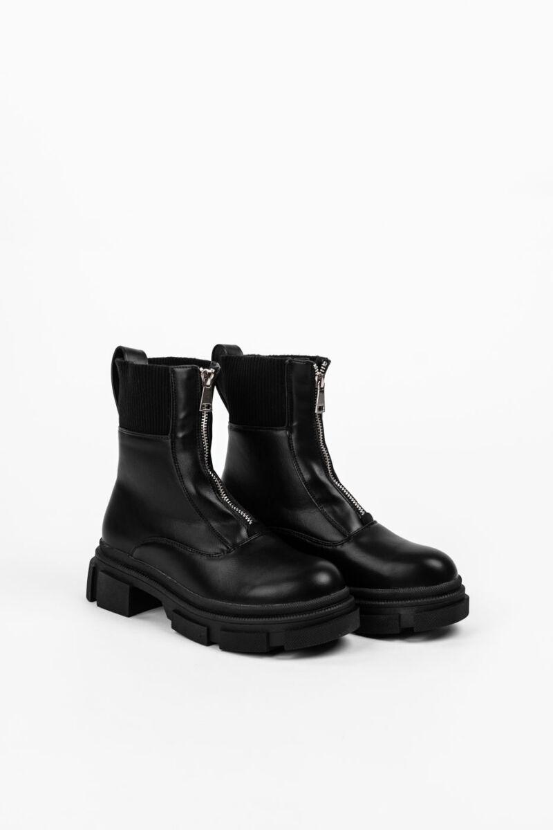 Fekete Műbőr Platformos Bakancs Textil Résszel