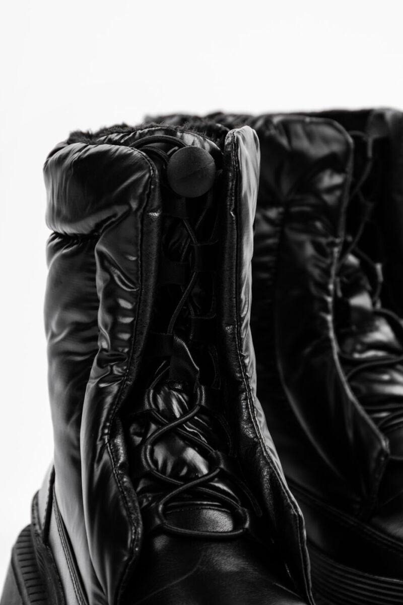Fekete Női Bélelt PVC/Műbőr Bakancs