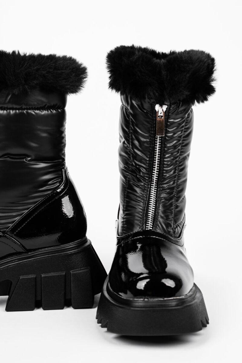 Fekete Lakkozott Női Bakancs Műszőrmével