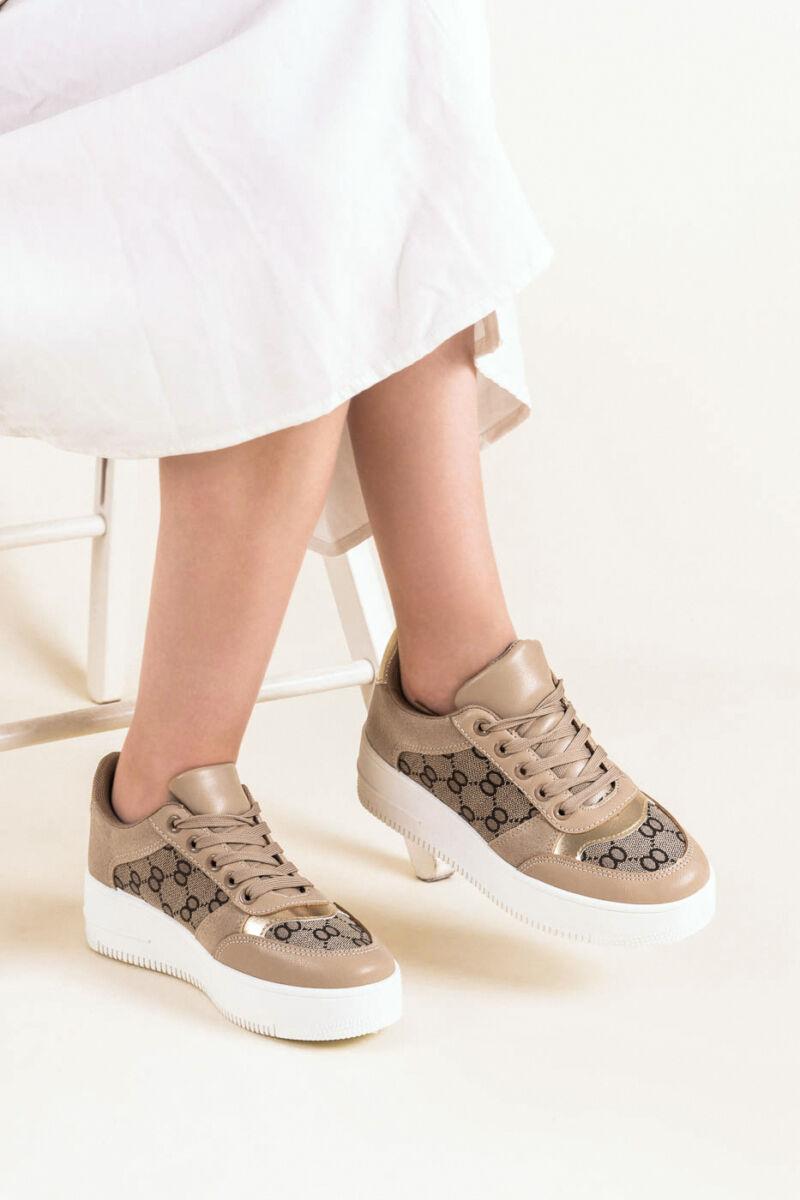 Agyagszínű Művelúr-Műbőr Magastalpú Sneaker