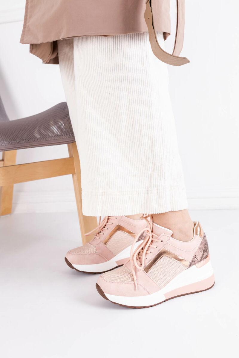 Rózsaszín Rózsaarany Női Sneaker Rejtett Sarokkal