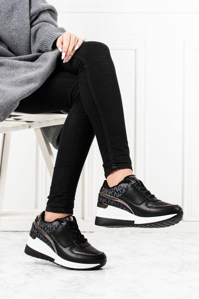 Fekete Bronz Rejtett Magassarkú Női Sneaker Sarok Dísszel