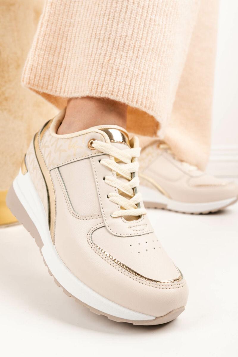 Bézs Arany Rejtett Magassarkú Női Sneaker Sarok Dísszel